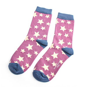 a purple and white star patterned pair of socks with blue toes, heels and ankle bands