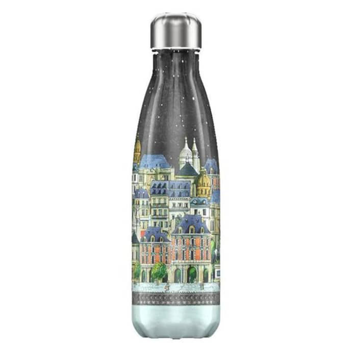 A resuable bottle with an illustrated design depicting paris monuments and architecture