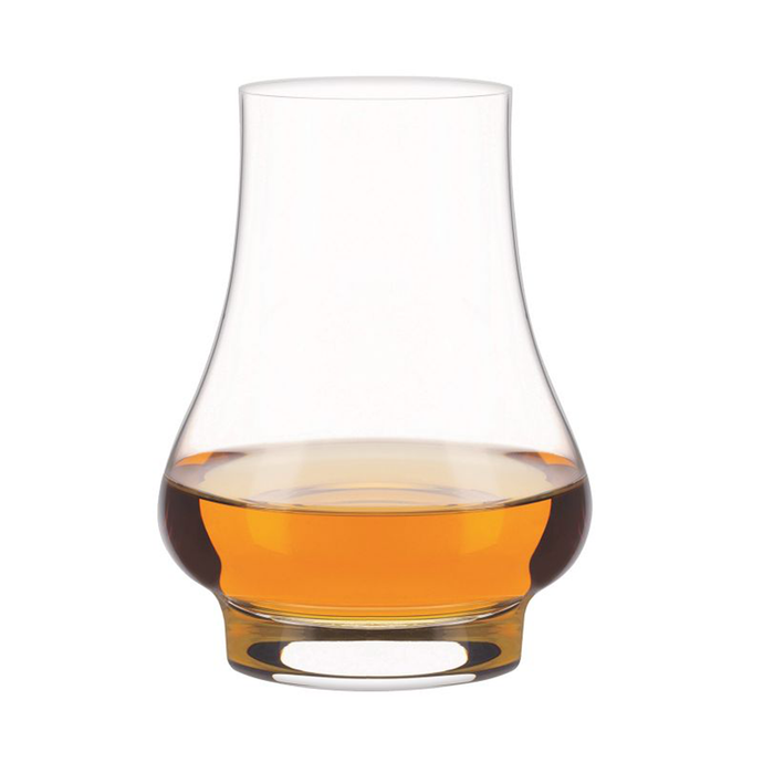 The whisky exoerience glass with a measure of whisky inside