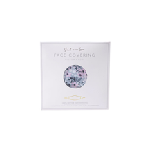 Load image into Gallery viewer, A cool grey coloured resuable face mask with a floral design  displayed in it's packaging