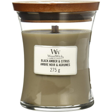 Load image into Gallery viewer, WoodWick Black Amber & Citrus Candle