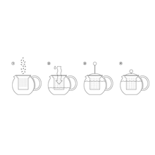 Load image into Gallery viewer, the instructions for using the tea press