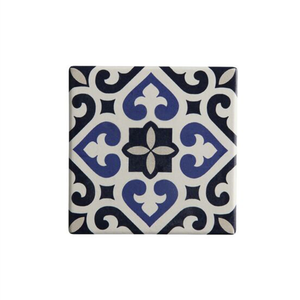 a tile inpsired coaster with a black and blue design