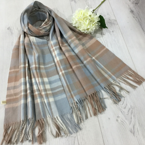 a tassled scarf with a blue and taupe check pattern