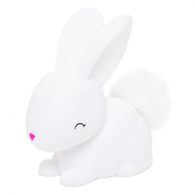 Load image into Gallery viewer, a small white bunny night light with a pink nose and fluffy tail