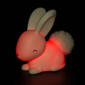 The baby bunny night light lit up in red
