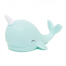 Load image into Gallery viewer, A small blue  narwhal night light with a white horn