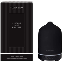 Load image into Gallery viewer, A black bottle shaped diffuser with it's strped box