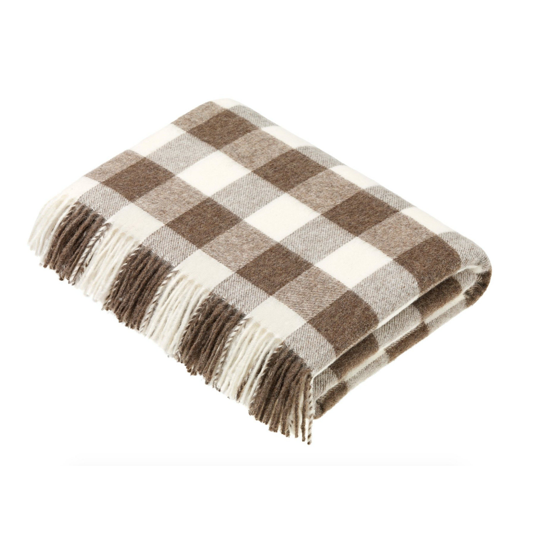 Bronte by Moon Checkerboard Throw Brown