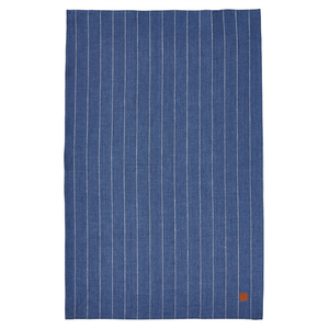 a blue tea towel with thin with stripes