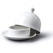 Load image into Gallery viewer, a white porcelain butter dish with a lid