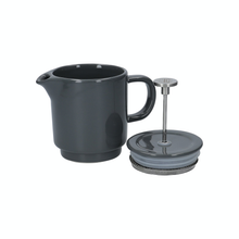 Load image into Gallery viewer, the ceramic french press with it's lid off showing the stainless steel filter