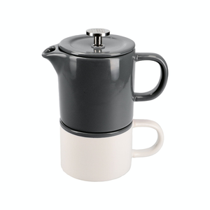 a grey ceramic french press sitting atop a white mug with a matching grey rim