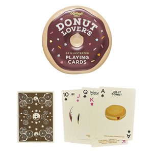 the donut shaped tin with the donut themed cards