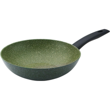 Load image into Gallery viewer, a green speckled wok with a black handle