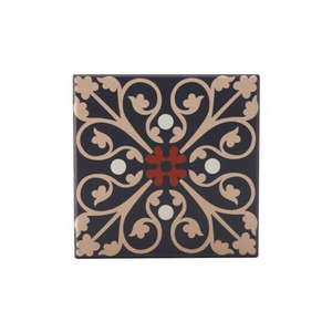 a tile inpsired coaster with a black, red  and blush pink design