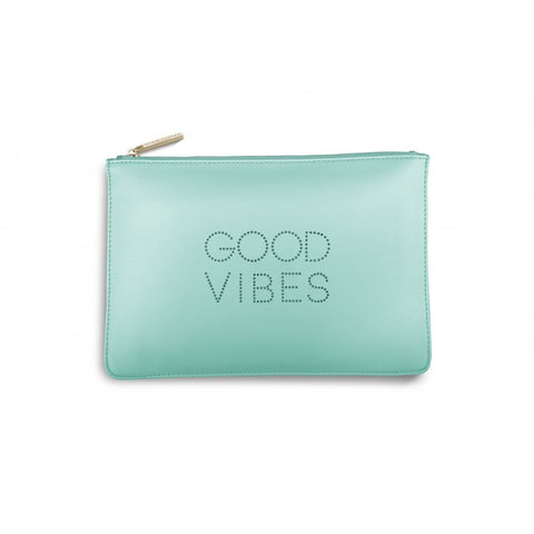 Katie Loxton 'Good Vibes' big polka dot pale mint pouch