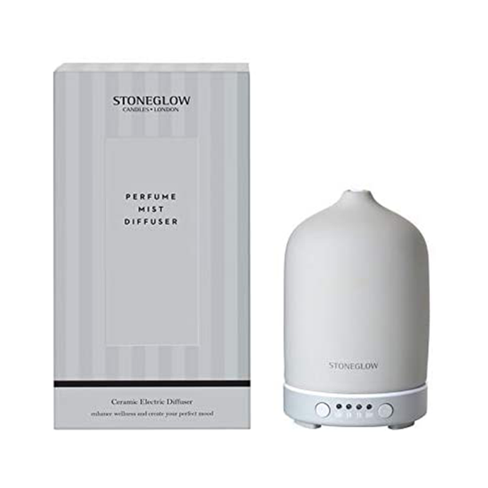 The grey bottle shaped diffuser with it's striped box