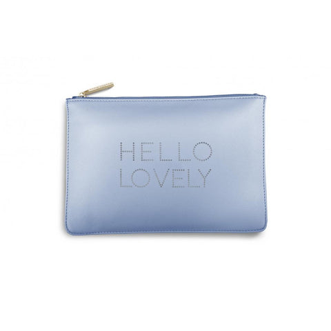 Katie Loxton 'Hello Lovely' big polka dot pale blue pouch