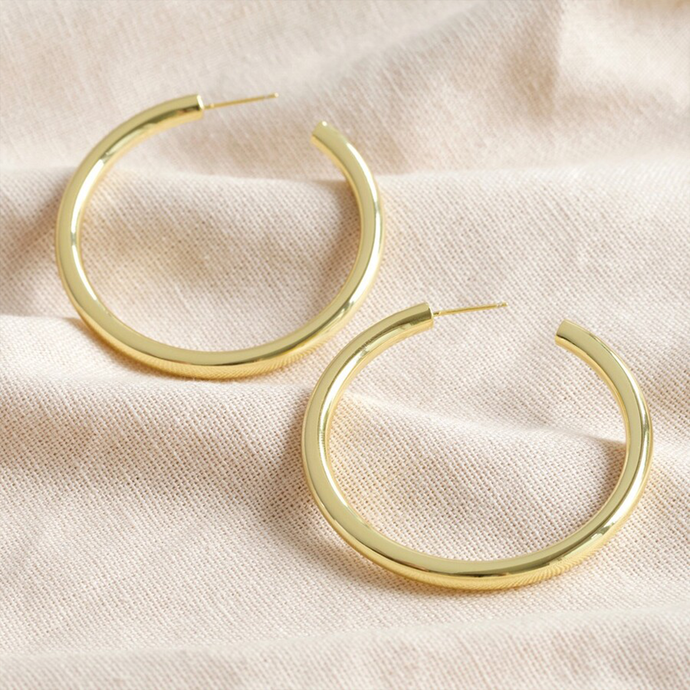 A pair of gold earrings in a round hoop shape