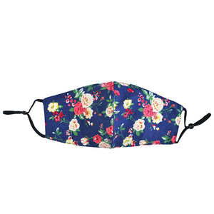 Navy Floral Face Mask with Filter