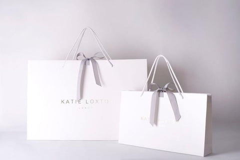 Katie Loxton 'Hello Lovely' big polka dot pale blue pouch packaging