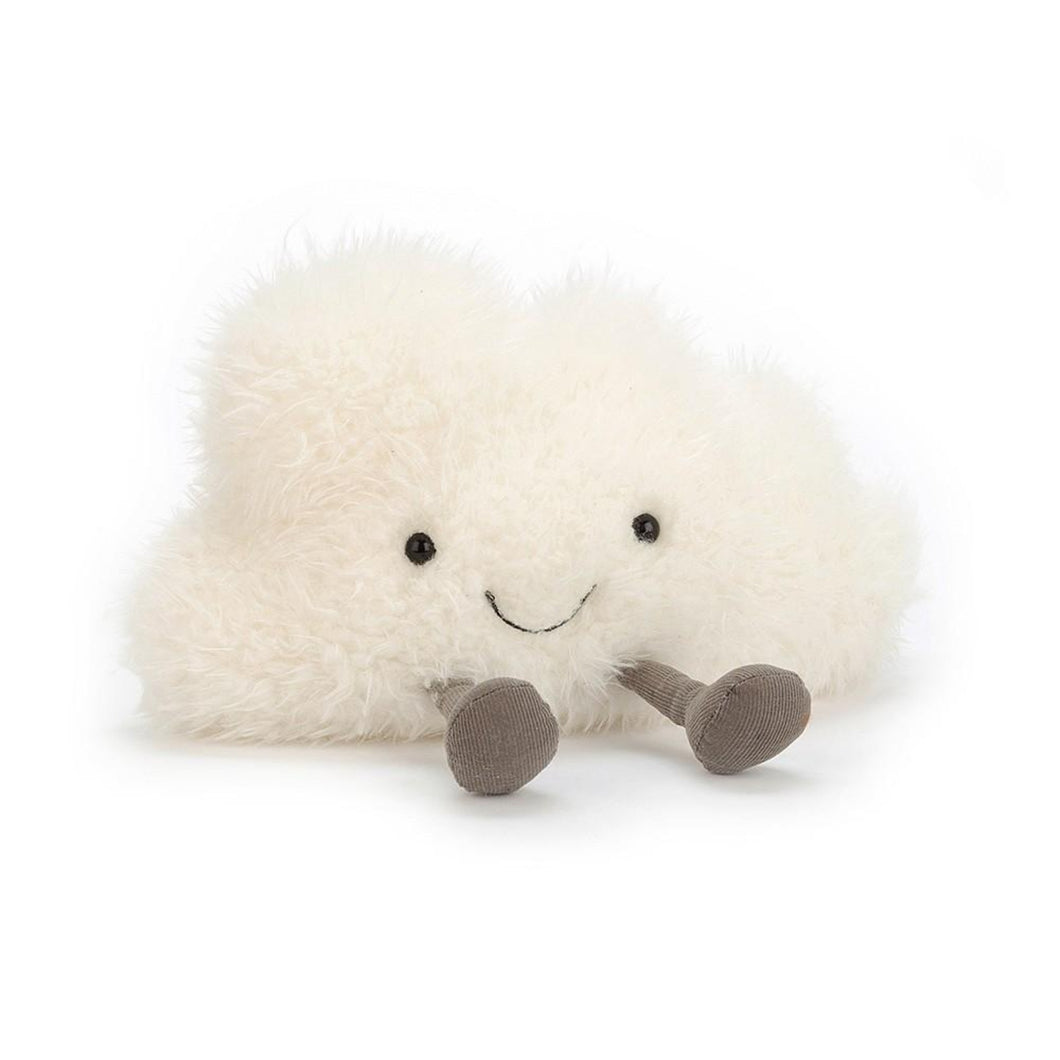 a fluffy cloud plushie with a smiling face and a pair of corduroy legs