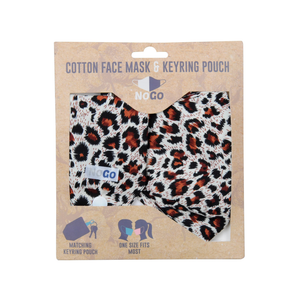 the leopard print mask and pouch in it's packaging