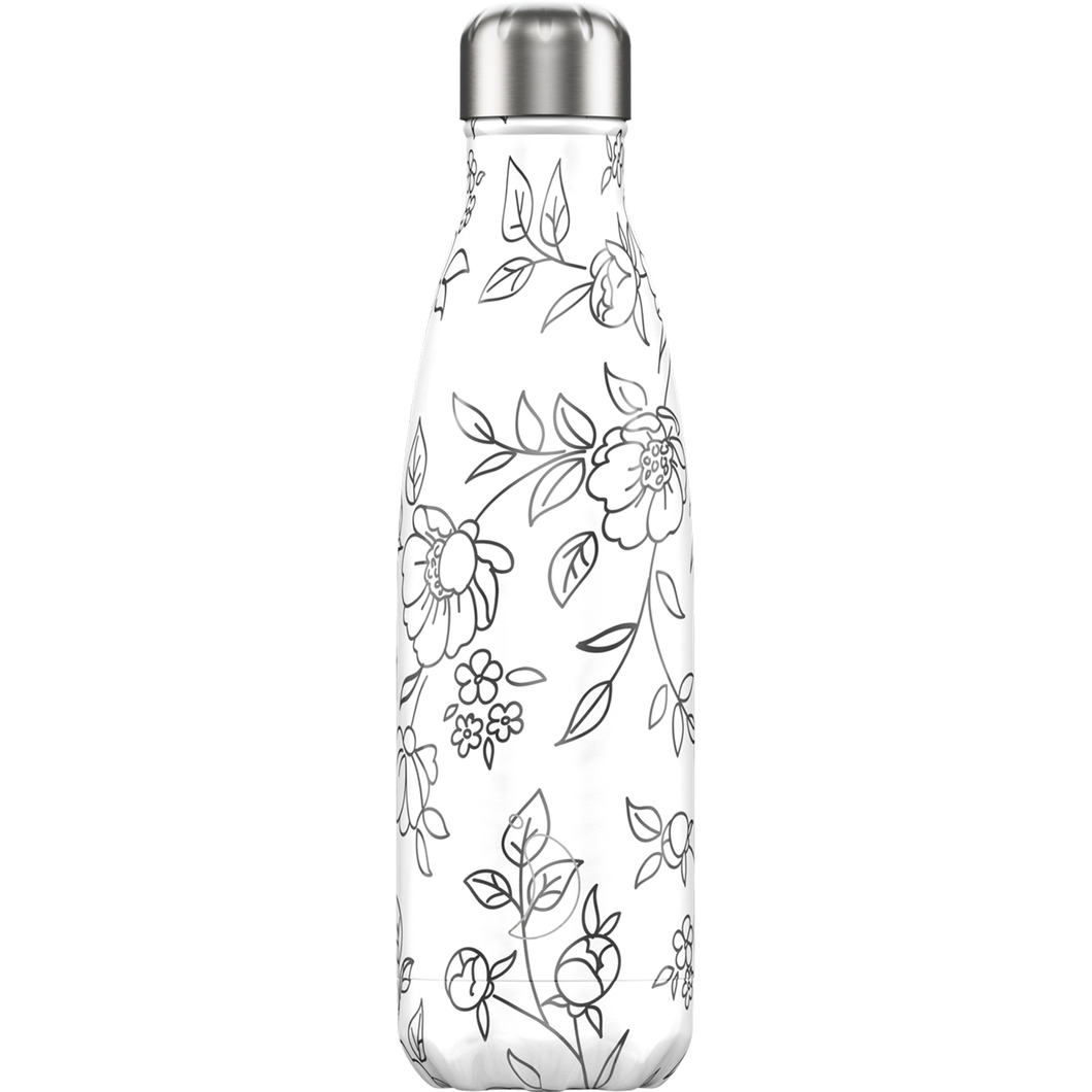 A white resusable bottle with a black floral line art design and stainless steel lid