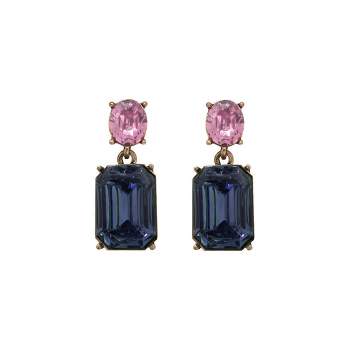 dangly earrings with a pink circular geam and a blue rectangular gem