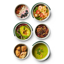 Load image into Gallery viewer, some pots filled with fresh and vibrant food