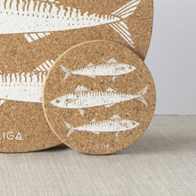 Load image into Gallery viewer, Set of 4 Mackerel Print Cork Coasters
