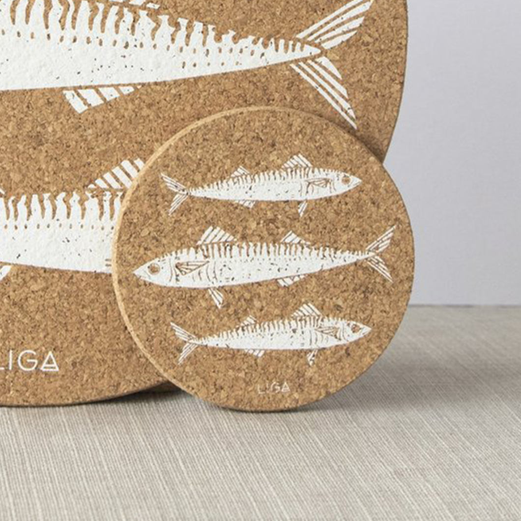 Set of 4 Mackerel Print Cork Coasters
