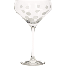 Load image into Gallery viewer, A champagne saucer with a spotted design