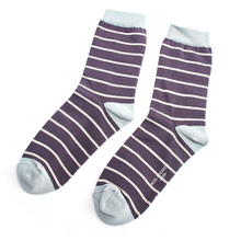 Load image into Gallery viewer, an off-white and purple pair of striped socks