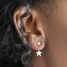 Load image into Gallery viewer, a woman modelling the double star earring