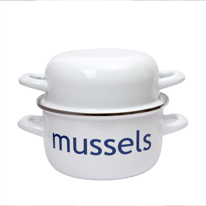 a white enamelled mussel pot with the word 'mussels' printed on it in blue