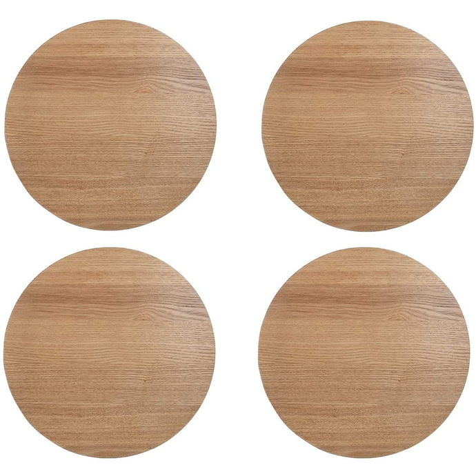 the set of four wooden round placemats