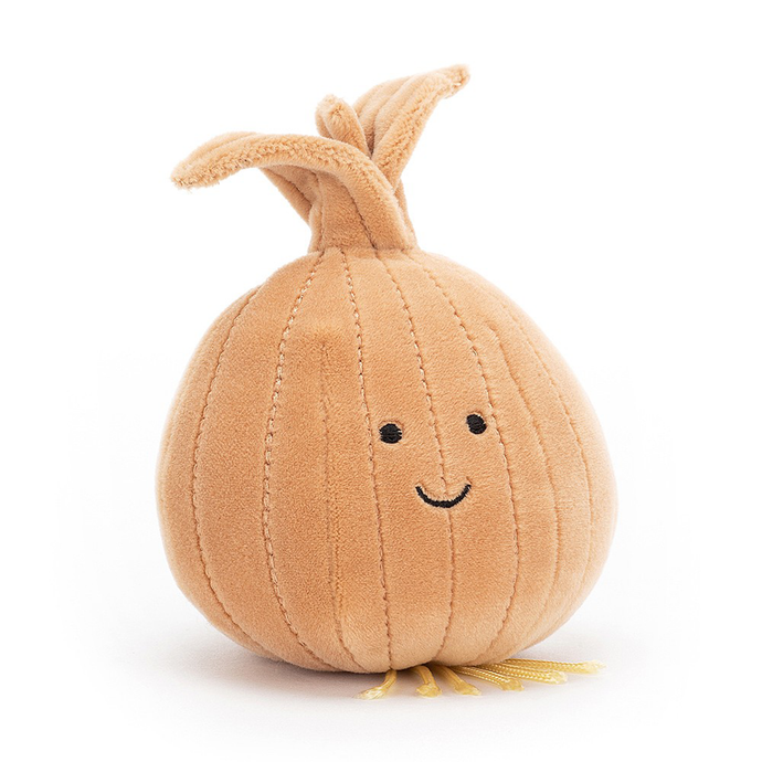 a brown onion soft toy with a smiley face