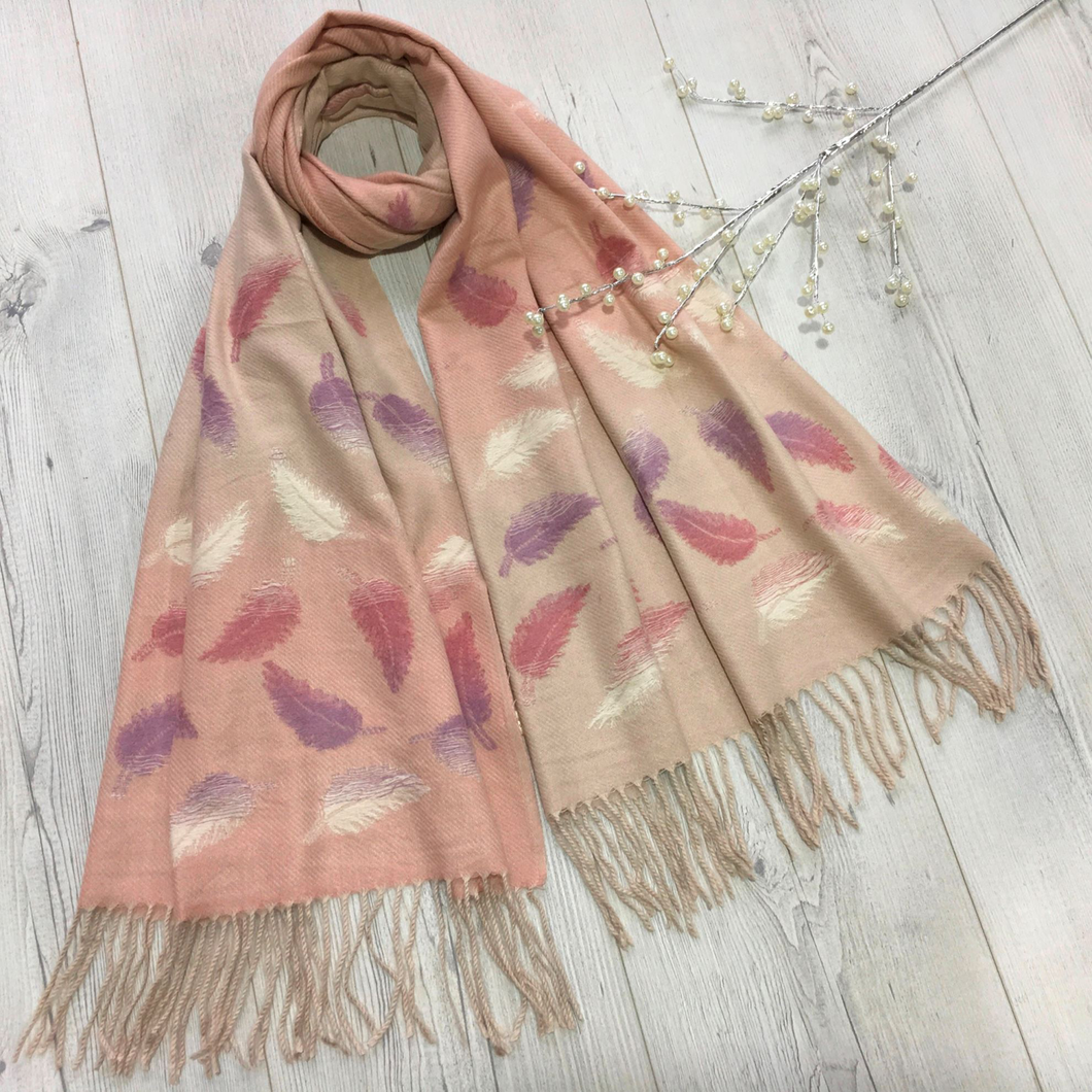 Pink Feather Pattern Scarf