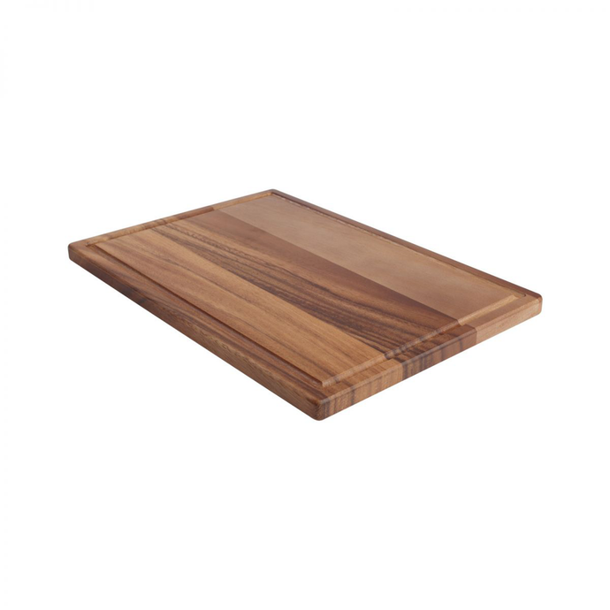a brown wood serving board with a groove around the edges