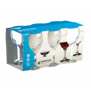the set of six glasses in their packaging