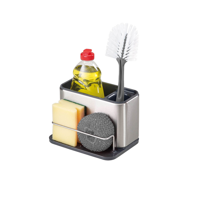 the sink tidy being used to hold a bottle of washing up liquid, a dish brush, a sponge and a scourer