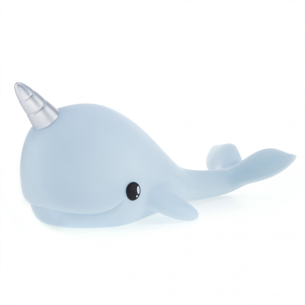 a sky blue narwhal night light