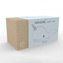 Load image into Gallery viewer, the box for the sky blue narwhal night light