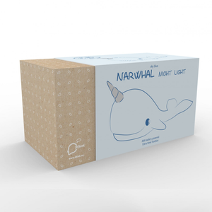 the box for the sky blue narwhal night light