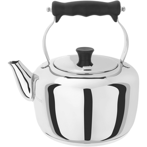 a stainless steel kettle with black handles