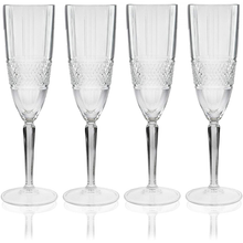 Load image into Gallery viewer, four crystaline flute glasses displayed in a row