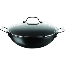 Load image into Gallery viewer, the wok with two handles and a glass lid with a handle