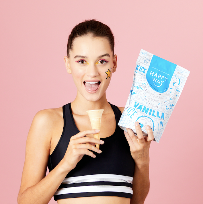 Girl with ice cream cone holding Happy Way whey protein powder | elan nutrition